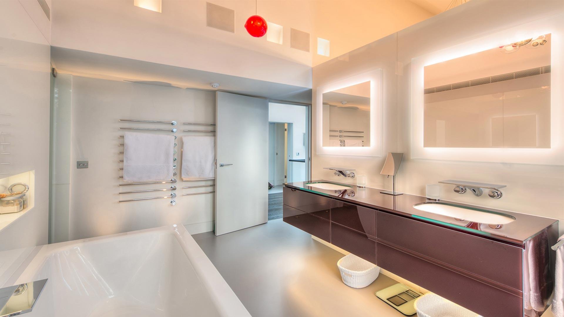 Bathroom LED strips.