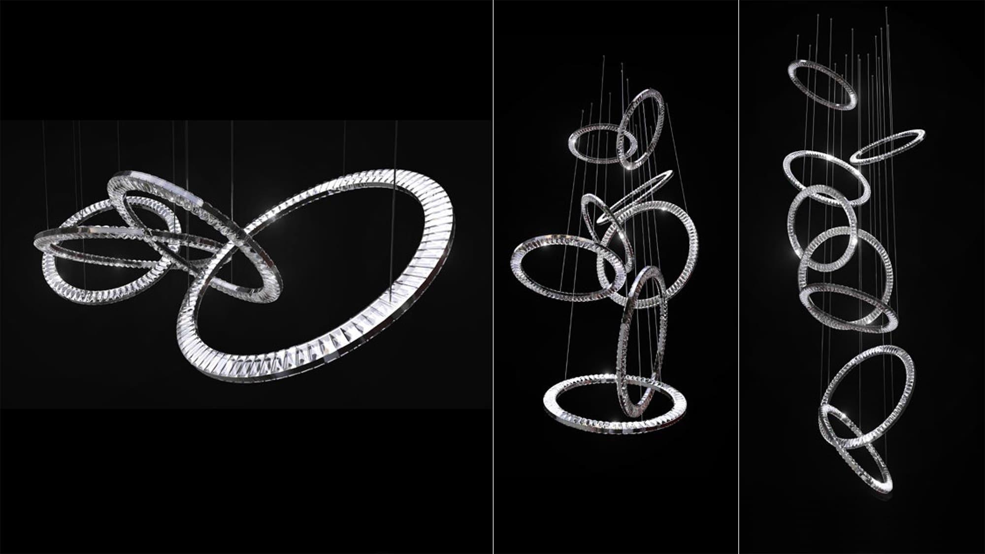modern crystal chandeliers made of big rings